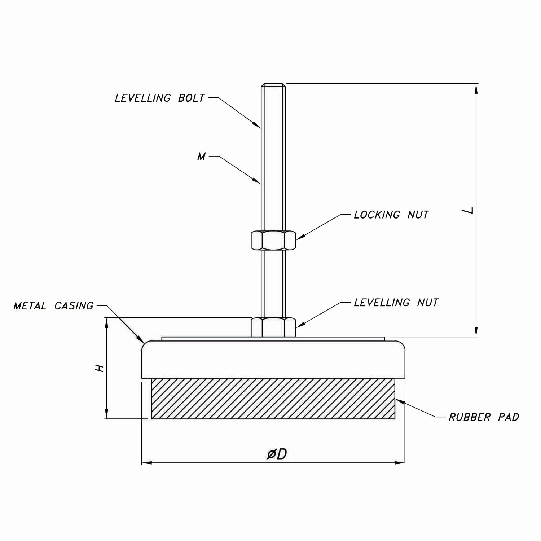 Anti-Vibration Machine Mount PTF-AMM80-M-L