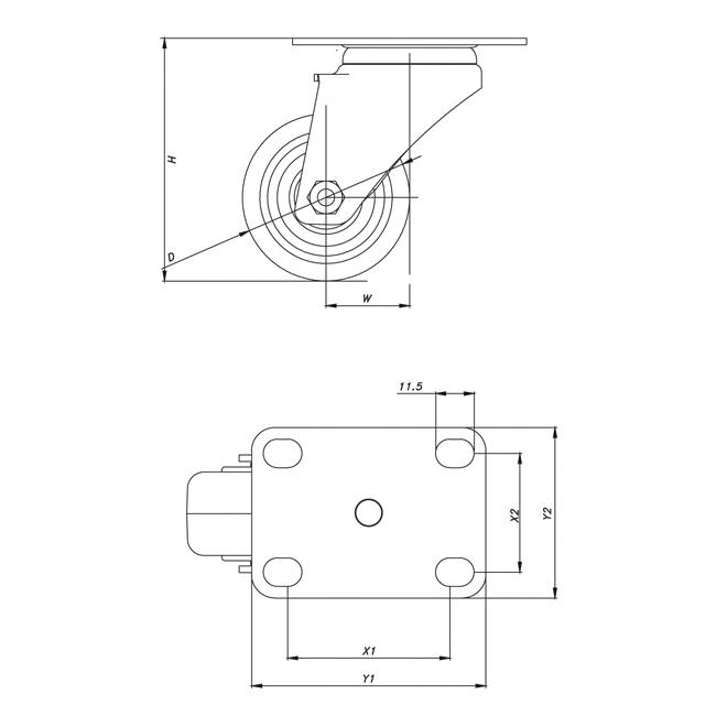 Medium / Light Duty Electrophoresis Caster Wheel PTF-BJM050-HP