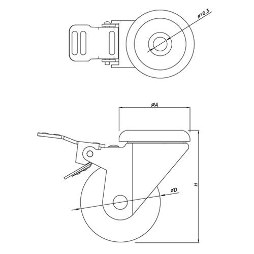 Light Duty Caster Wheel PTF-HS125-TPU & PTF-HL125-TPU